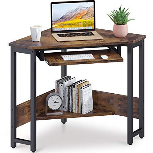 ODK Corner Desk, Triangle Computer Desk, Sturdy Steel Frame for...