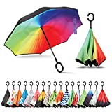 Sharpty Inverted Umbrella, Umbrella Windproof, Reverse Umbrella, Umbrellas for Women with UV Protection, Upside Down Umbrella with C-Shaped Handle (Rainbow)