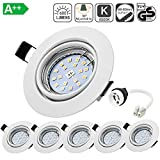 Spots LED Encastrables Orientable Bojim 6x GU10 6W Blanc Neutre 4500K...