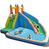 Costzon Inflatable Slide Bouncer, Water Pool with Long Slide, Climbing Wall, Including Oxford Carry Bag, Stakes, Castle Bounce House ( Without Air Blower)