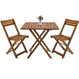 Deuba - Ensemble de Jardin en Bois d'acacia • 1 Table et 2 chaises Pliables -...