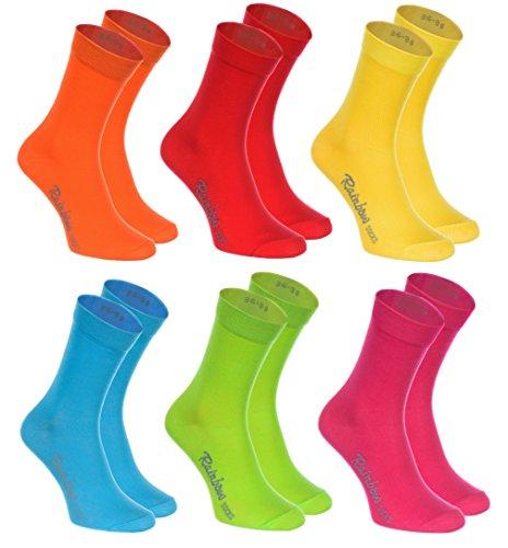Rainbow Socks - Donna Uomo Colorate Calze di Cotone - 6 Paia - Arancione Rosso Giallo Verde Mer Verde - Tamao 42-43