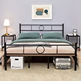 GreenForest Full Size Bed Frame with Headboard, 8 Middle Support Legs Heavy Duty Metal Platform Mattress Foundation Box Spring Replacement,Noise Free,Black