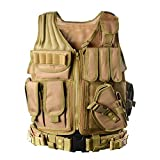 YAKEDA Tactical Vest Outdoor Ultra-Light Breathable Combat Training Vest Adjustable for Adults (TAN)