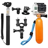 AFUNTA 3in1 Basic Common Outdoor Sports Accessories Kit Compatible Hero Black Silver 7 6 5 4 3+ 3 2 1 SJ4000 SJ5000 SJ6000 2018 Action Video Cameras Xiaomi Yi WiMiUS Lightdow