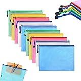 Bolsa con cremallera Bolsa de plástico con cremallera A4, bolsa de identificación, maletín de malla impermeable, accesorios de viaje de oficina con cierre de cremallera, cremallera, 5 colores (10)