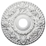 Ekena Millwork CM18RO Rose Ceiling Medallion, 18'OD x 3 1/2'ID x 1 1/2'P (Fits Canopies up to 7 1/4'), Factory Primed