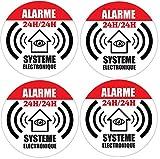 4x autocollant Ø65mm de dissuasion' maison sous alarme' stickers