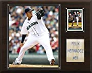 """Licensed 8""""x10"""" Felix Hernandez Photo Officially Licensed Trading Card 12"""" X 15"""" cherry wood plaque Full lens covers to protect cards, pictures Perfect for displaying in an office, rec room or bedroom"""