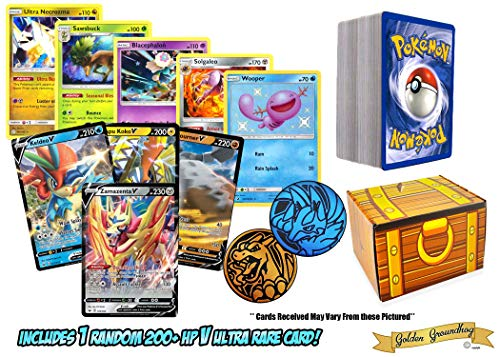 100 Assorted Pokemon Cards: V Ultra Rare w/ 200+ HP, 10 Reverse Holos and 100 Random Cards  All Cards Authentic  Includes Golden Groundhog Treasure Chest Storage Box and Collectible Pokemon Coin!