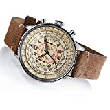 Stainless steel case, caseback and crown Distressed brown leather band Chronograph 24 hour dial Mineral crystal