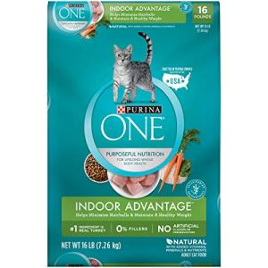 Purina ONE Hairball, Weight Control, Natural Dry Cat Food, Indoor Advantage – 16 lb. Bag