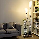 LOFAMI Lampadaire moderne, avec étagères en verre, 2 abat-jour acrylique...