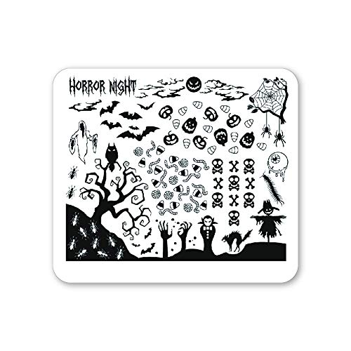 Winstonia Halloween Nail Stamping Plate Scary Graveyard Manicure Art Template (Horror Night)