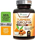 Turmeric Curcumin with BioPerine 95% Curcuminoids 1950mg with Black Pepper for Best Absorption, Made in USA, Best Vegan Joint Support, Turmeric Supplement Pills by Natures Nutrition - 120 Capsules