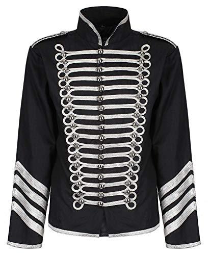 Ro Rox Gold Hussar Parade Steampunk Gothic Jacket - Black & Silver (Men's S) (Apparel)