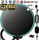 TV Antenna,[2020 Updated] Amplified HD Digital Indoor TV Antenna, TV Aerial 120-150 Miles Range, 4K 1080P HD VHF UHF for Local Channels, 18FT Premium Coaxial Cable