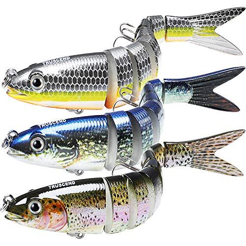 TRUSCEND Esche Artificiali da Pesca Esche Snodate Swimbaits Glidebait Esca Dura con Amo Mustad Kit di Pesca