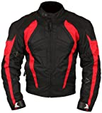 Milano Sport MJGAM0385LA Gamma Motorcycle Jacket with Red Accent (Black, Large)