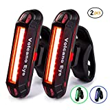 Volcano Eye Bike Rear Tail Light (2 Packs), USB Rechargeable LED Safety Light for Bicycle, Ultra Bright Waterproof Cycling Taillight,Red/Green/Blue 7 Light Modes Fits on Any Road or Mountain Bike