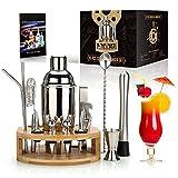 Ensemble de shaker à cocktail de 25 oz, 16 pièces Kit de barman de mixologie avec support en bambou - Kit de barman professionnel - Ensemble d'outils de bar à domicile pour boire
