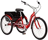Schwinn Meridian Deluxe Adult Trike, Three Wheel Cruiser Bike, 3-Speed, 26-Inch Wheels, Cargo Basket, Red