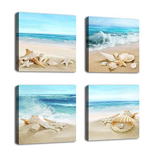 Beach Canvas Wall Art Ocean Decor Beach Seashell Starfish Nature Picture Blue Canvas Artwork Turquoise Contemporary...