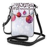 Lawenp Bolso bandolera para teléfono con bola navideña, pequeño mini bolso de hombro, bolso para teléfono celular, billetera de cuero para mujeres y niñas