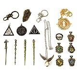 U&X El Paquete Contiene: la Caja Incluye 4 varitas mágicas, 5 Insignias Escolares, 5 Collares, 1 Anillo. 11 Harry Mini PCS Caja mágica de Regalo para niños, se Puede Usar como Collar o Llavero.