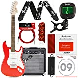 Squier by Fender Affinity Stratocaster Beginner Electric Guitar, Race Red Complete Beginners Bundle with FRONTMAN 10G Amp, Fender Play Card, Strings, Picks & More