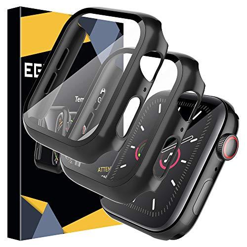 EGV Cover Compatibile per Apple Watch 40mm Series 5/4 Pellicola Protettiva, [2 Pezzi] Custodia Rigida con Vetro Temperato [Copertura Completa] [HD Clear] per iwatch Series 5/4 40mm - Nero