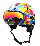 BeBeFun Toddler and Kids Youth Snow Sports Ski Helmet and Goggles Combo Ages 3-7 (Color Focus with...