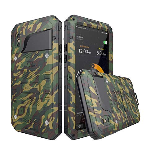 Beeasy Funda Antigolpes iPhone X, [Impermeable] Carcasa Resistente Waterproof Reforzada Metálica Grado Militar con Protector de Pantalla Incorporada a Prueba de Polvos Case para iPhone 10,Camuflaje