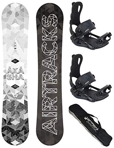 AIRTRACKS Snowboard Set - Board Akasha Wide 162 - Fixation Master XL - SB Bag