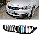SNA M Color Front Kidney Grill Compatible for BMW 4 Series F32 F33 F36 (2014+) F82 F83 M4 F80 M3 (2015+) (Gloss Black Double Slats ABS Grille, 2-pc Set)