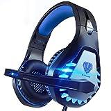 Pacrate Auriculares Gaming para Xbox One PS4 PC Nintendo Switch Mac, Auriculares con Microfono con Sonido Envolvente y Cancelación de Ruido, Cascos Gaming con 3.5mm Jack con Luz LED (Negro Azul)