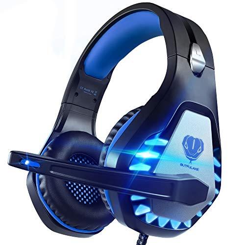 Pacrate Gaming Headset für PC, PS4, PS5, Xbox One, Xbox Series X, 3.5mm Noise Cancelling Gaming Kopfhörer mit Mikrofon, LED Leuchten und Soft Memory Ohrenschützer(Black Blue)