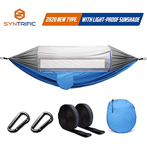 syntrific Hammock with Mosquito Net and Sun-Proof Sunshade-2020 Upgraded -2 Person Camping Ultralight Hammock Tent Bundle with Tree Straps,Carabiners- Portable Hammocks for Indoor,Outdoor,Backpacking