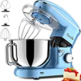 Facelle Stand Mixer, 660W 6-Speed Tilt-Head Food Mixers Kitchen Electric Stand Mixer with 5.8QT Stainless Steel Bowl, Dough Hook, Flat Beater, Whisk, Splash Guard, for Baking, Cakes, Cookie (Blue)