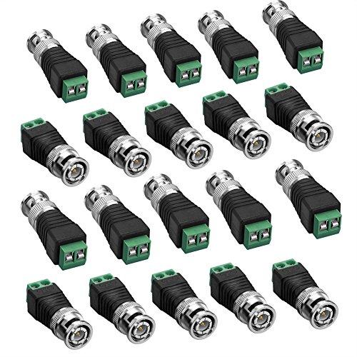 SIENOC 20pz BNC Video maschio a vite Terminale connettore CCTV coassiale Adattatore Fotocamera / Video Balun connettore