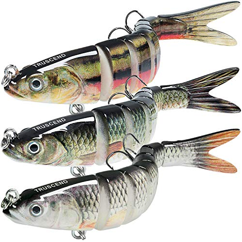 TRUSCEND Fishing Lures for Bass Trout 5.4' Multi Jointed Swimbaits Slow Sinking Bionic Swimming...