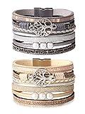 sailimue 2 Pcs Bracelet en Cuir de l'arbre de Vie de pour Femmes Fille Bracelet...