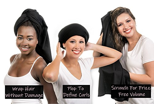 Hair RePear Ultimate Hair Towel for Long Hair - Anti Frizz Premium Cotton Product to Enhance Healthy Natural Hair Perfect for Plopping Wrapping Scrunching Straight Wavy or Curly Hair -21x44in Black 3