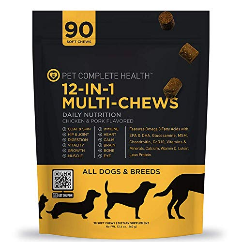 PET COMPLETE HEALTH   12-in-1 Multi-Chews   Daily Nutrition   Soft Chews  Multi-vitamin made for all dogs   Digestive Health supplement   Vital Growth
