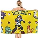 Serviettes de plage Pokémon Pikachu Anime - Serviettes de bain D-isney pour enfants...