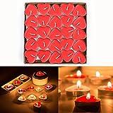 Txyk Parfumée Bougies Lot de 50 Bougies Forme de Coeur d'amour Décoratives en Forme de Cœur pour Fête Anniversaire 3.8 * 3.8 * 1cm(Rouge)