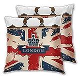 BROWCIN 2 Pack Funda de Almohada Maleta de Viaje Vintage con Imagen de Cinta y Corona de Bandera británica de Londres Lino Suave Cuadrado Sofá Cama Decoración Hogar para Cojín 45cm x 45cm