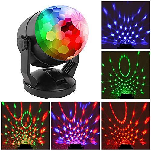 Mini-Ton aktivierte Partei beleuchtet batteriebetriebene/USB-beweglichen RGB-Disco-Kugel-Licht DJ-Beleuchtung Strobe-Lampe 7-Modi Bühne Par Licht für Auto-Haus-Raum-Tanz-Partys-Geburtstag Karaoke-C