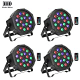 Wireless Battery Stage Lights Package, OPPSK 18LED RGB Par Lights Battery Power 4 Pack 5-15Hours Playing Remote DMX Control for DJ Wedding Party Stage Lighting