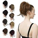 FESHFEN - Postizos para moño de pelo, moño de extensión, moño sintético elástico, fácil para ...